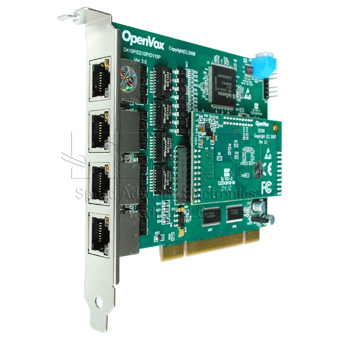 D410 Digital Card - OpenVox D410 4-E1 Digital PCI Card with Echo Canceller